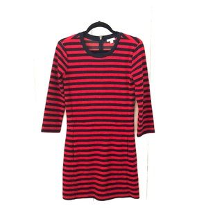 Navy and Red striped Dress